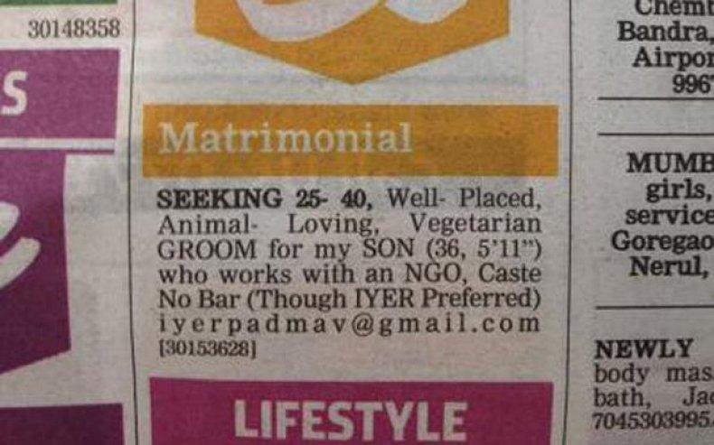 Gay matrimonial ad India