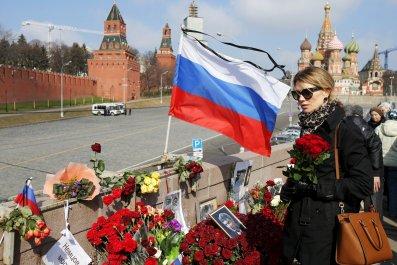 Boris Nemtsov's unofficial memorial in Moscow