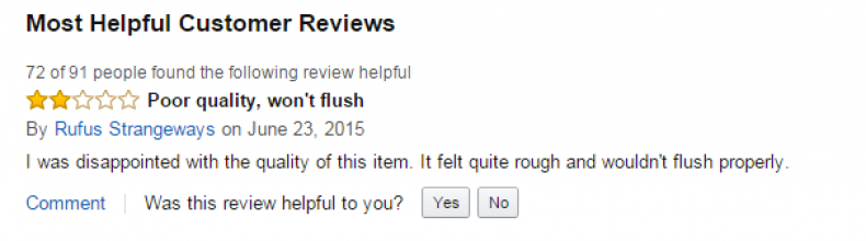 Poor quality, won't flush
