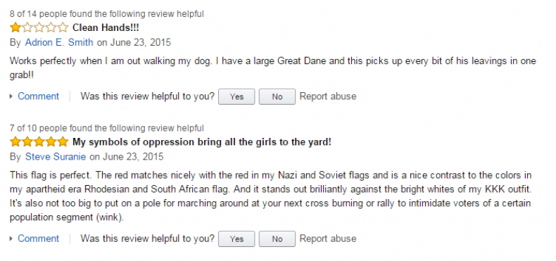 Amazon reviews of confederate flag 1
