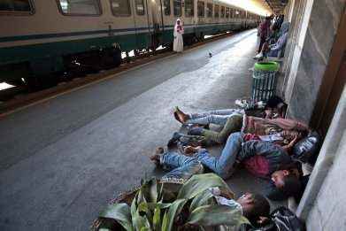 Migrants on the French-Italian Border