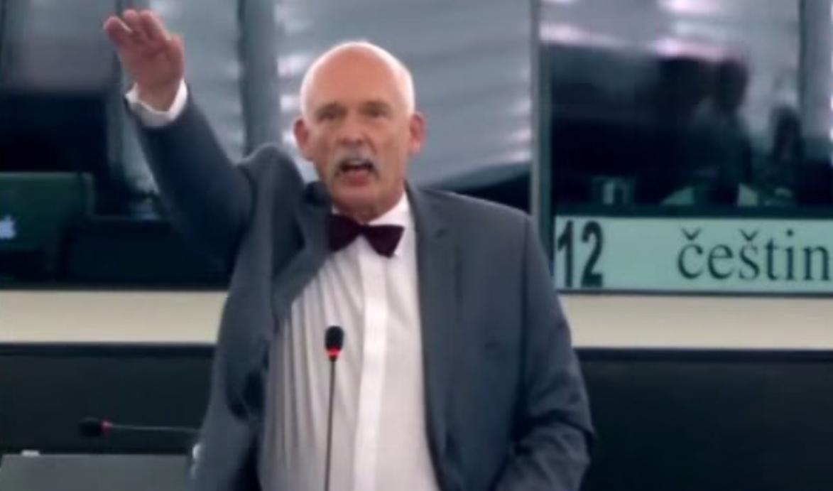 Polish MEP gives Nazi salute