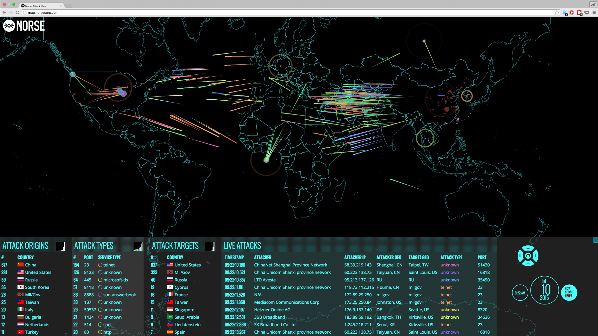 Real-Time Cyber-Attack Map Shows Scope of Global Cyber War
