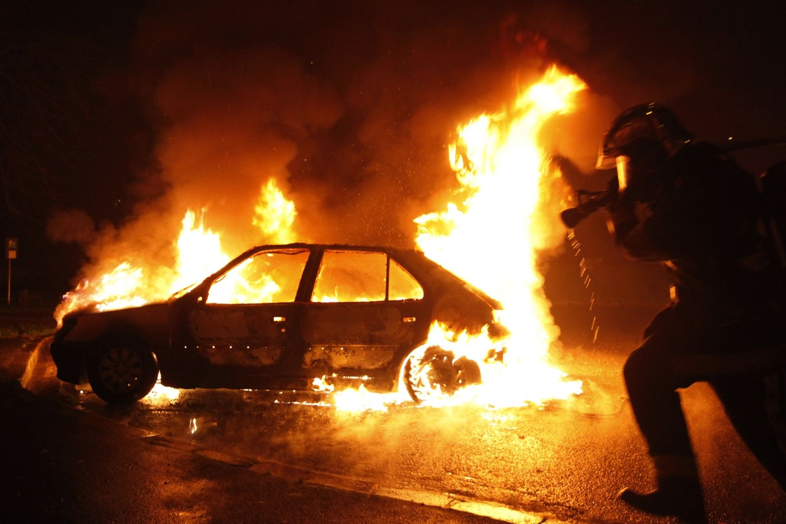 Bastille day car torching