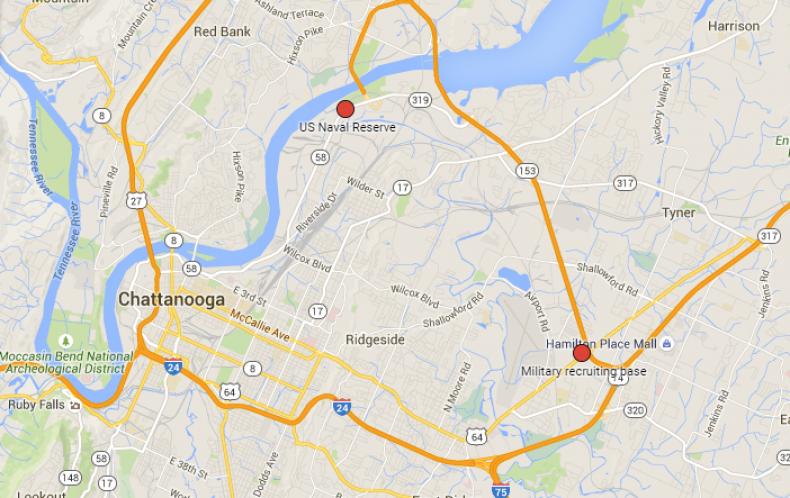 Chattanooga shooting map