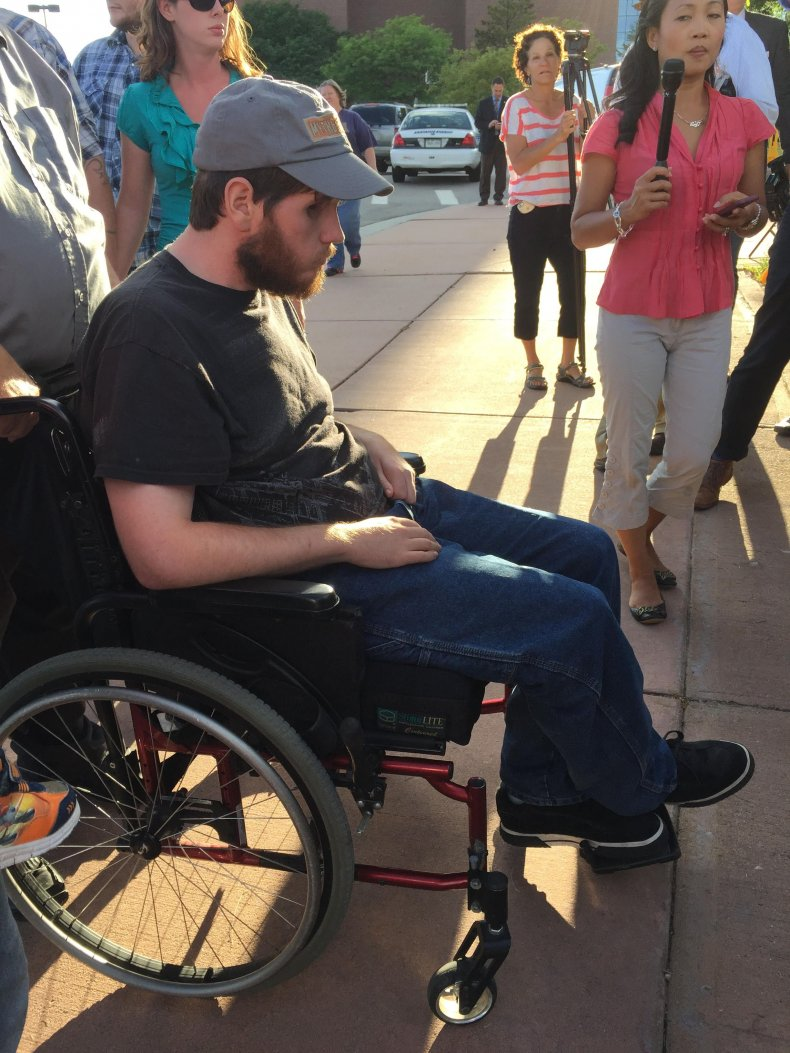 Caleb Medley, an Aurora shooting survivor, can't speak.