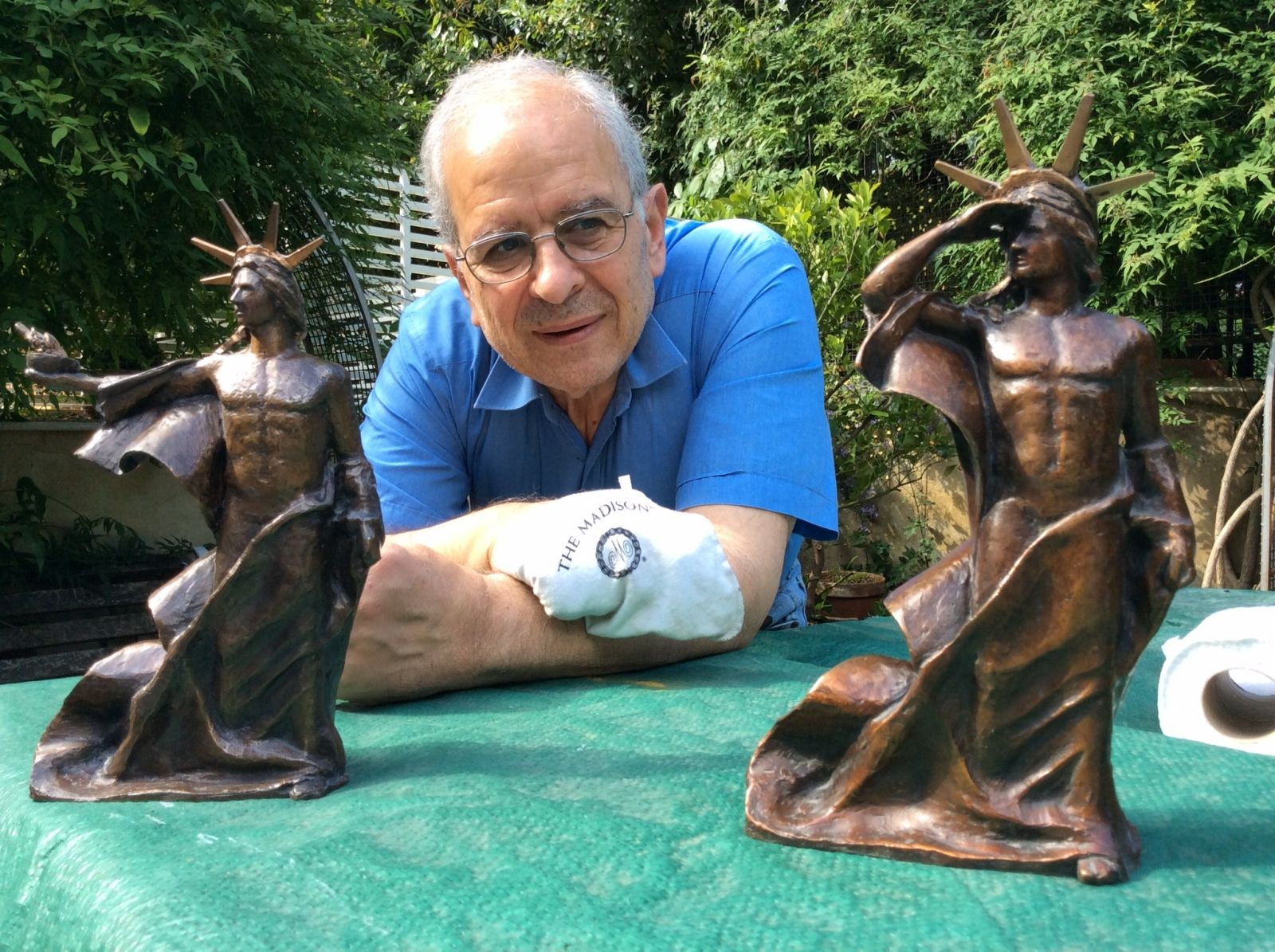 Nikolaos Kotziamanis with bronze maquettes