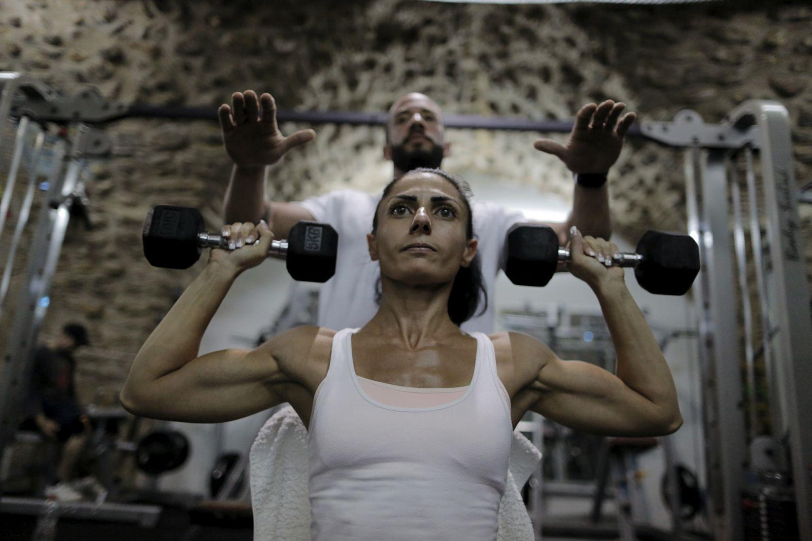 Palestinian Bodybuilder Training