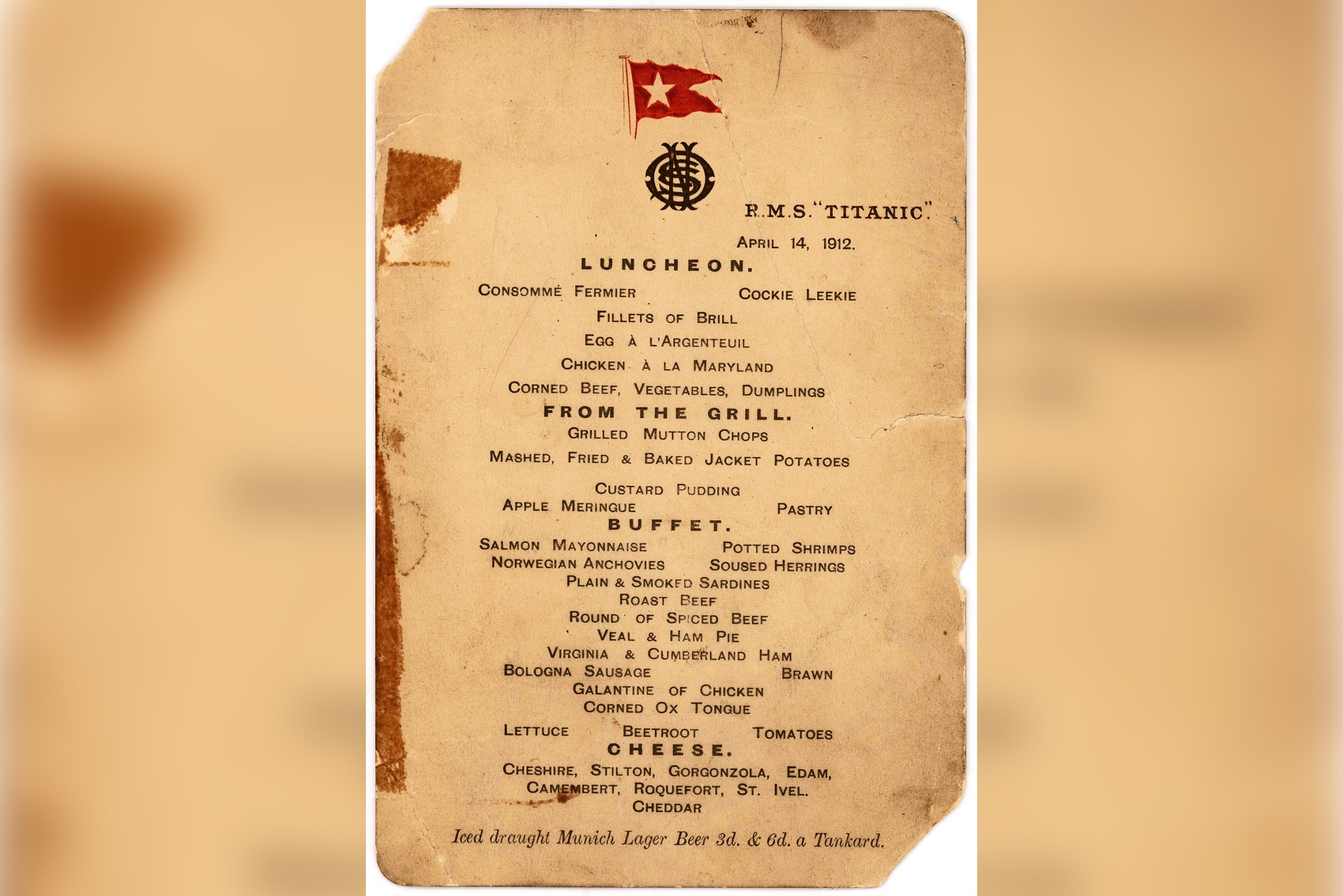 Last Lunch Menu Aboard The Titanic Set For Auction