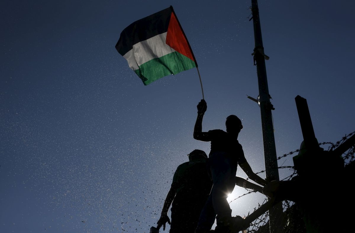Palestinian flag at U.N. opinion piece