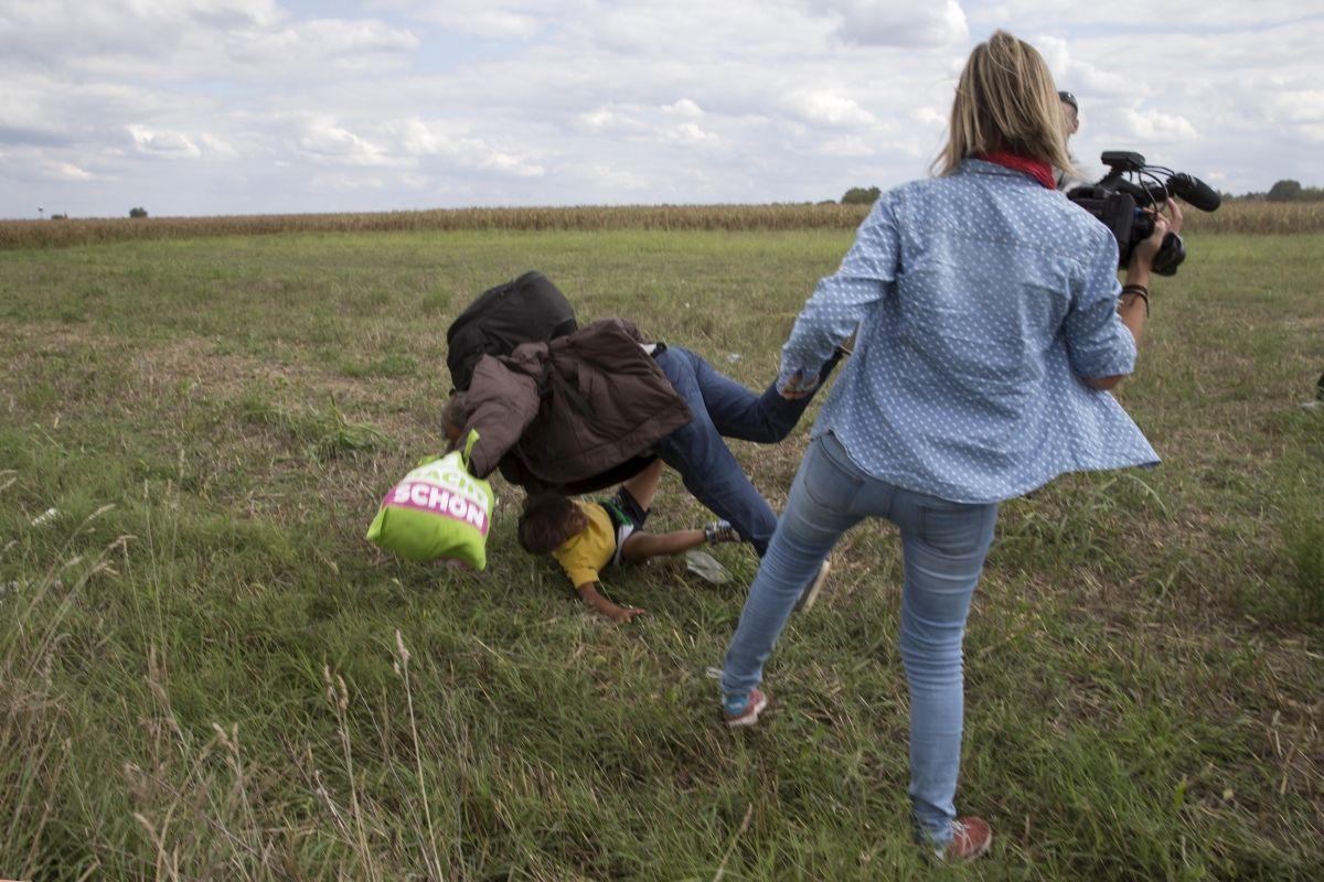Hungarian camerawoman apologises