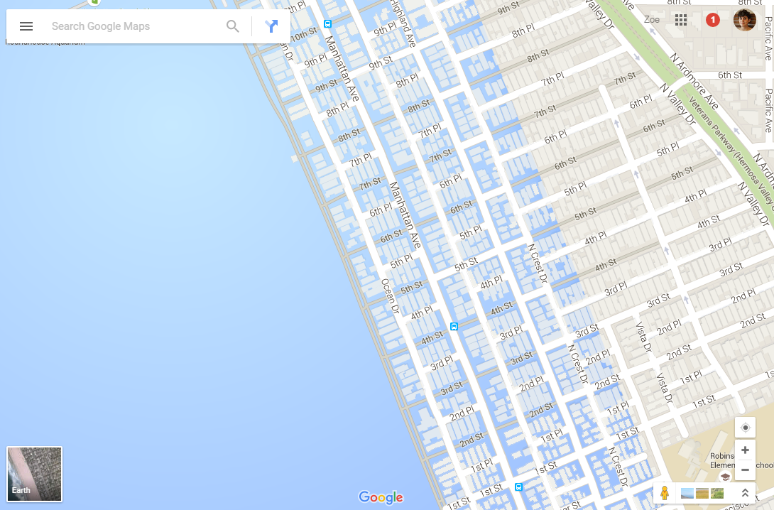 Google Maps Now Showing Southern California Coastal Cities Drowned - Google maps california