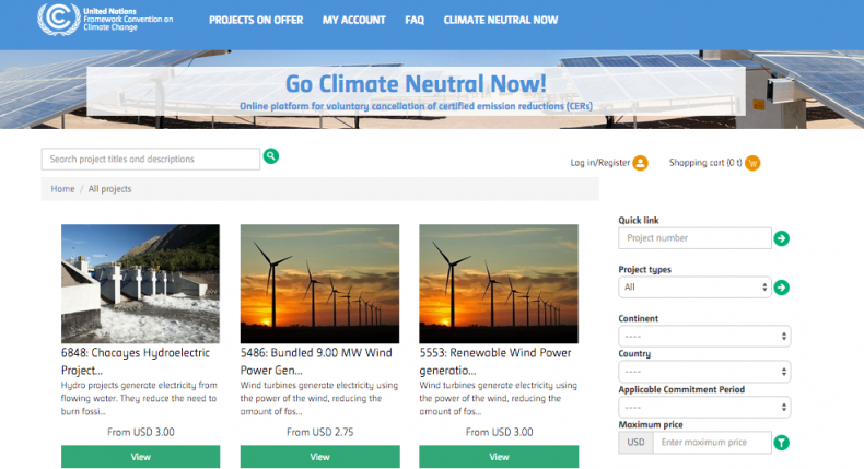 UN Climate Neutral Now website