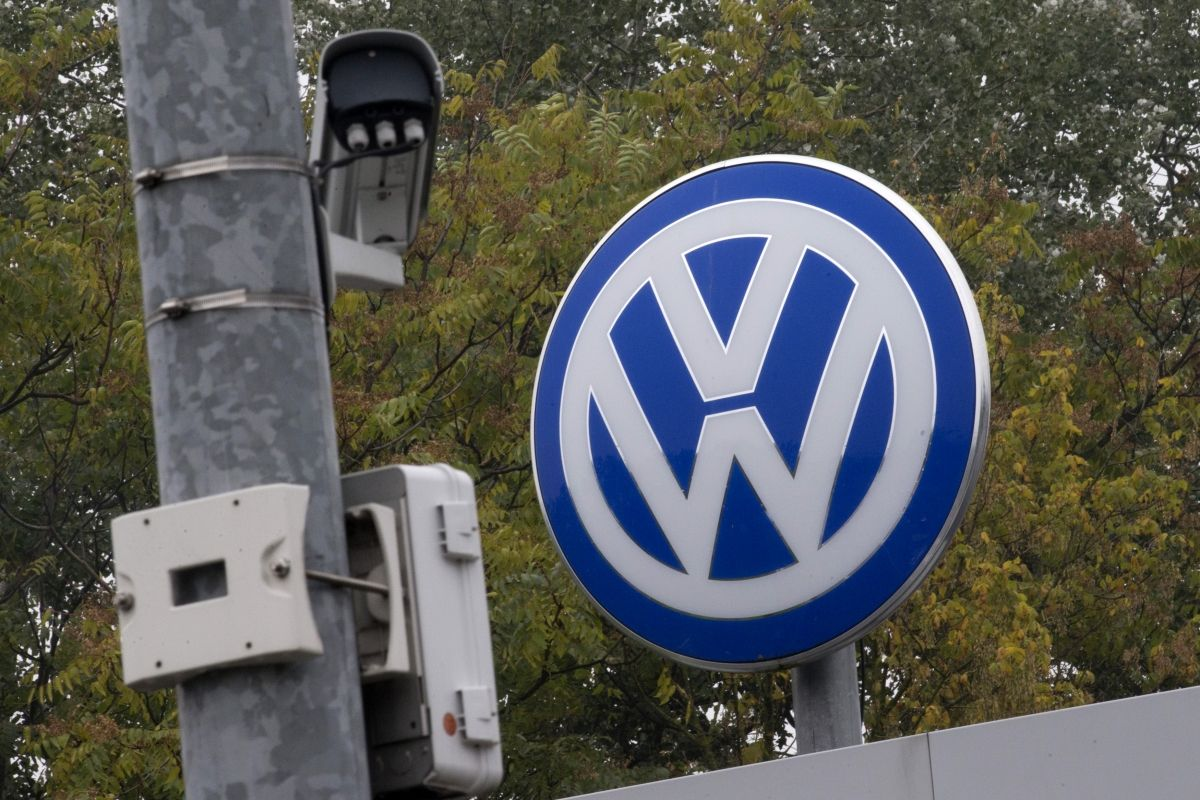 Volkswagen logo with security camera