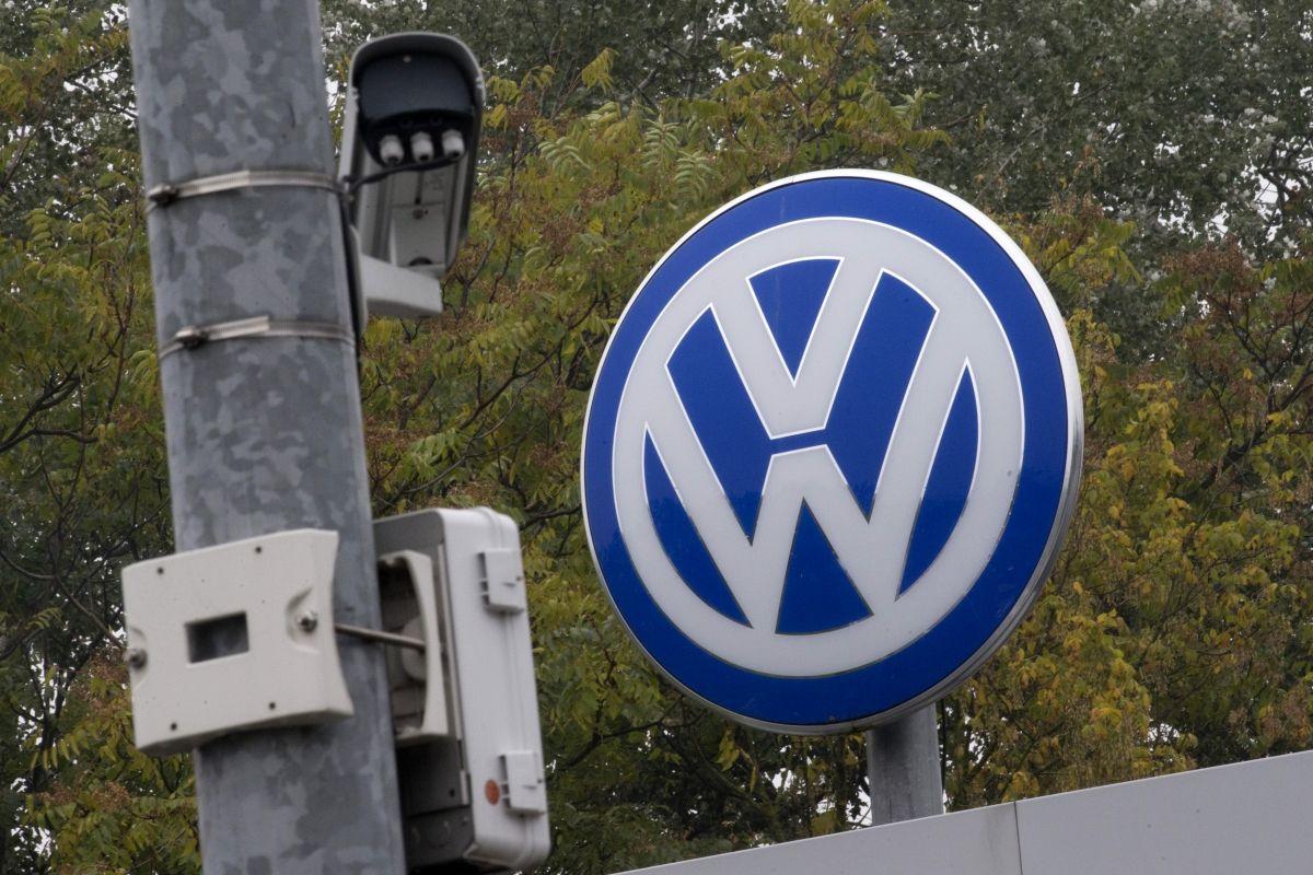 Volkswagen logo with security camera
