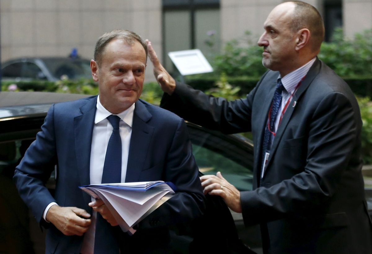 Donald Tusk at EU meeting