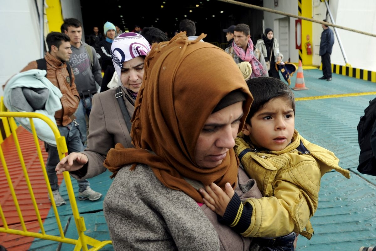 Refugees arrive in Piraeus, Greece