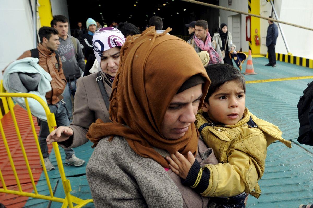 Refugees arrive in Piraeus, Greece