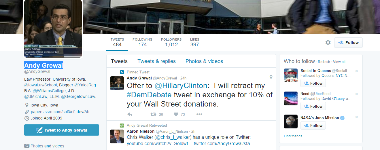 Andy Grewal's Clinton Tweet