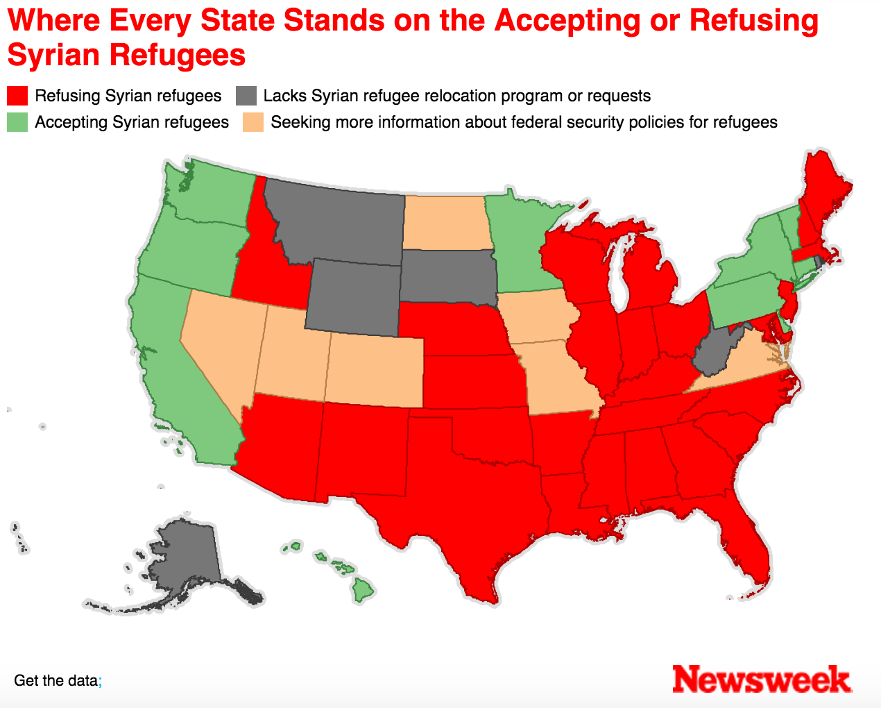 Map Every State Accepting and Refusing Syrian Refugees