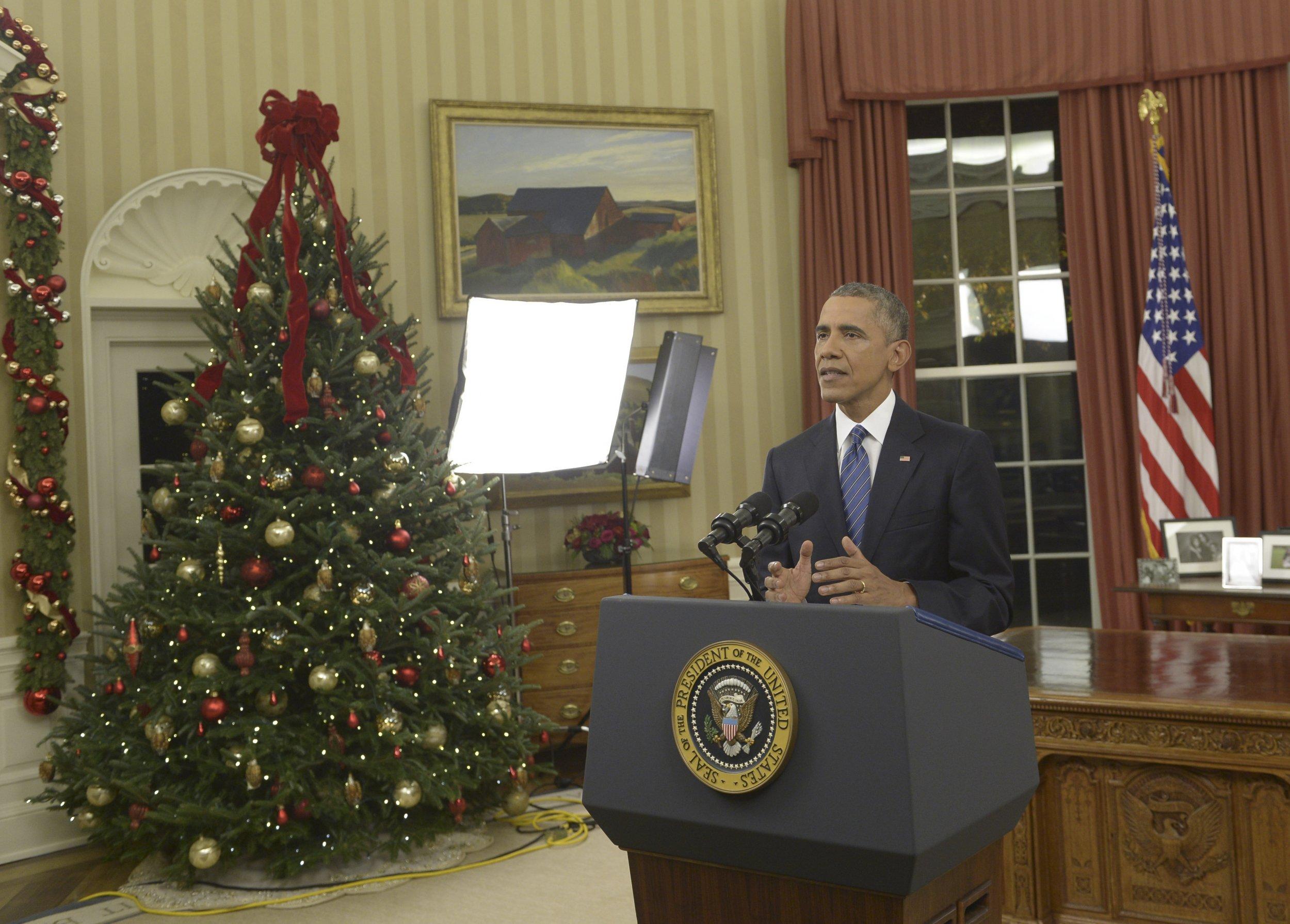 President Obama Addresses Nation About Terror Threat Gun