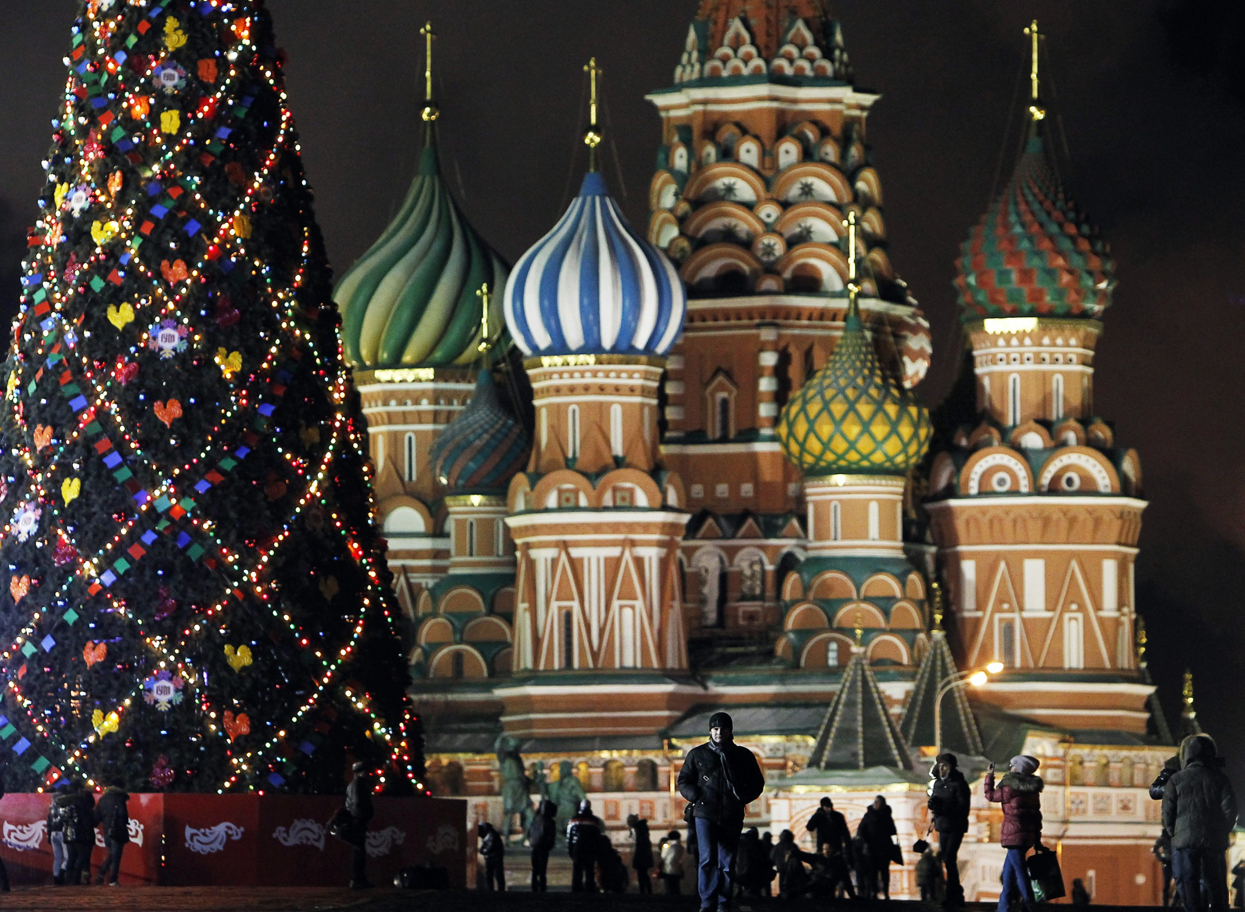 Christmas tree in front of famous Church in Russia