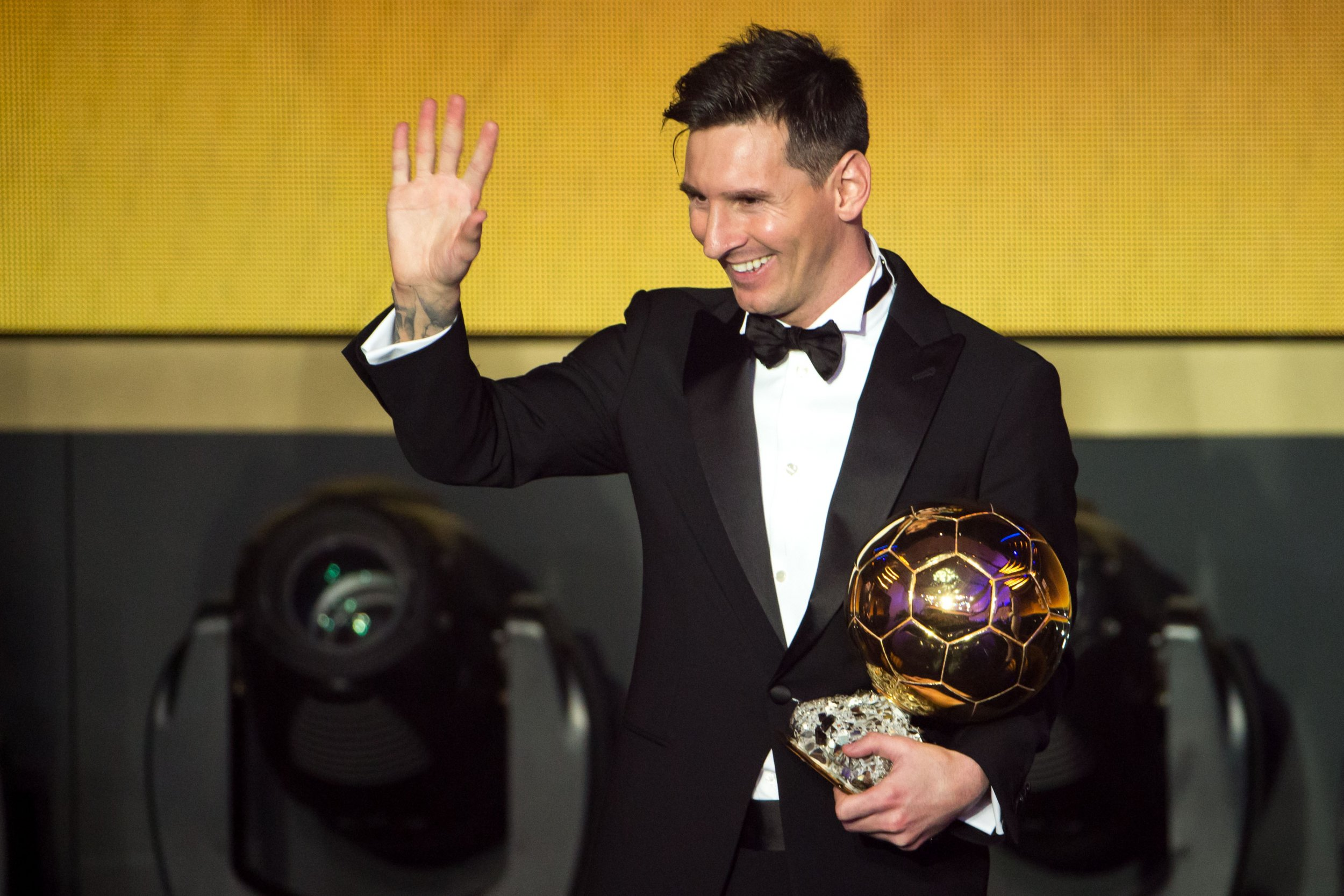 ea80684dc31 FIFA Ballon d'Or winner Lionel Messi of Argentina and Barcelona gestures  after the FIFA Ballon d'Or Gala 2015 at the Kongresshaus on January 11, ...