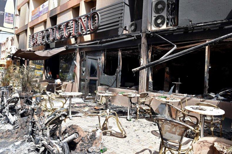 The remains of an Al-Qaeda attack on the Cappuccino cafe in Ouagadougou, Burkina Faso.