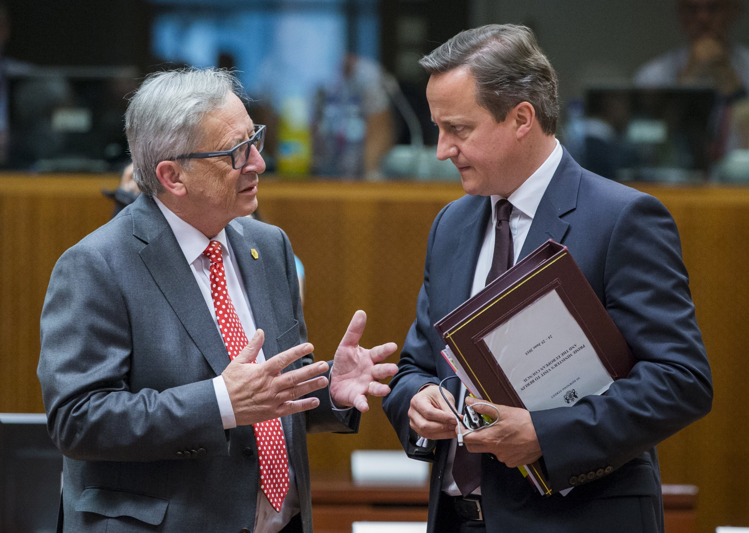 David Cameron Jean-Claude Juncker in Brussels