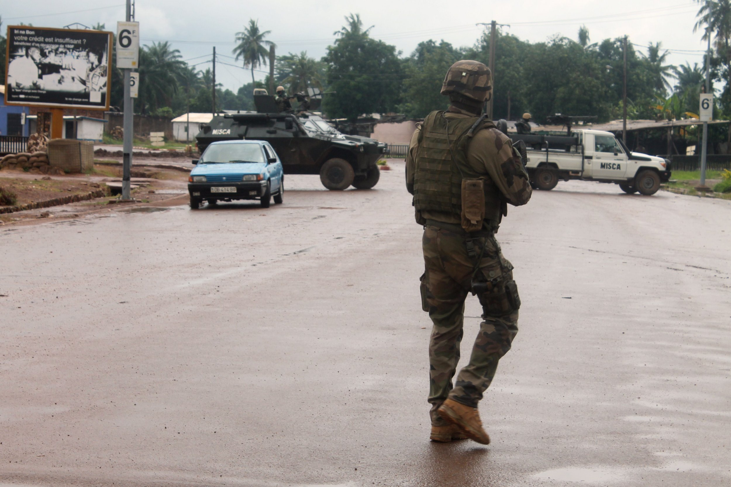 A French soldier patrols in Bangui, CAR.