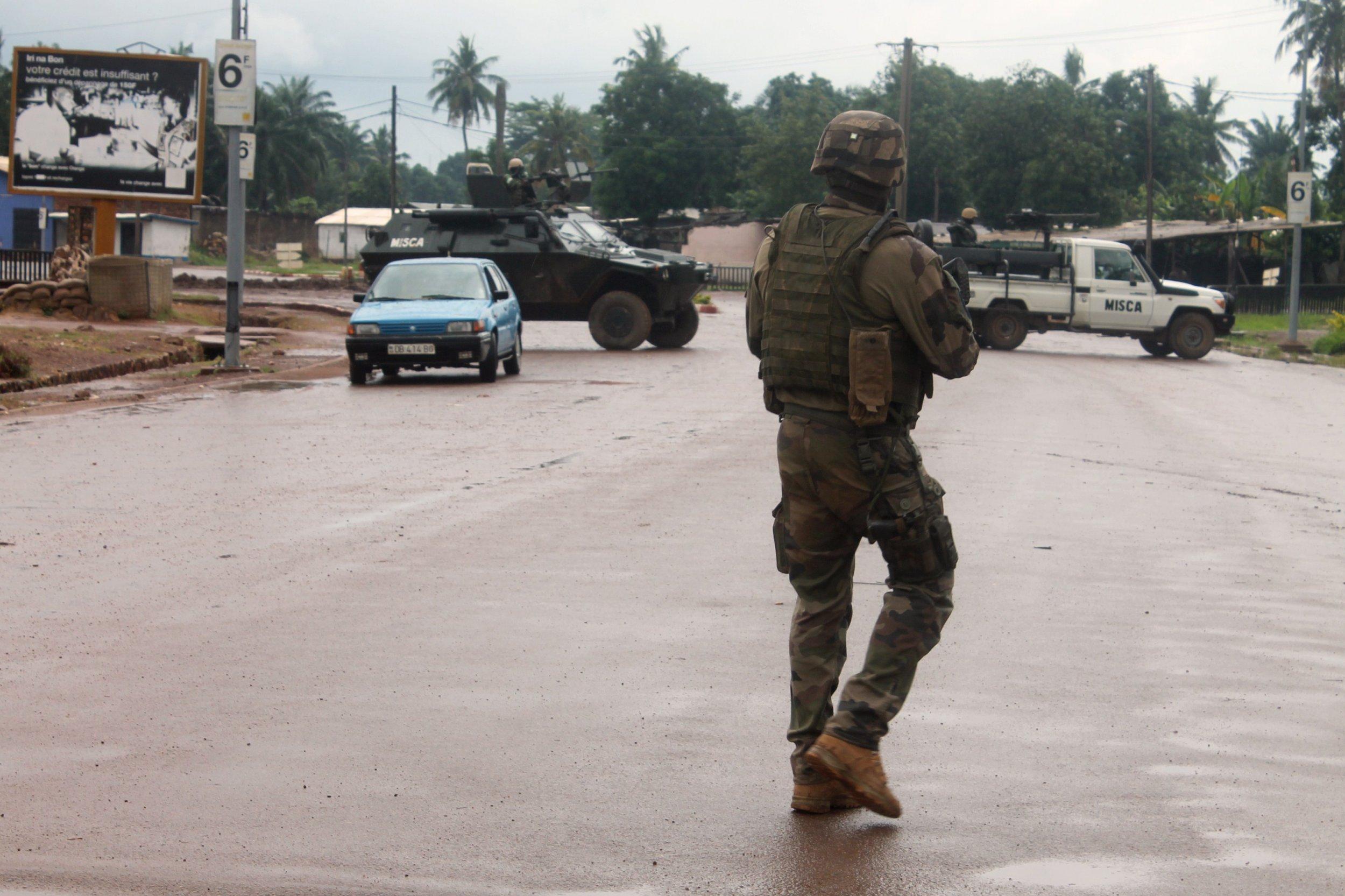 A French soldier patrols in Bangui, CAR.
