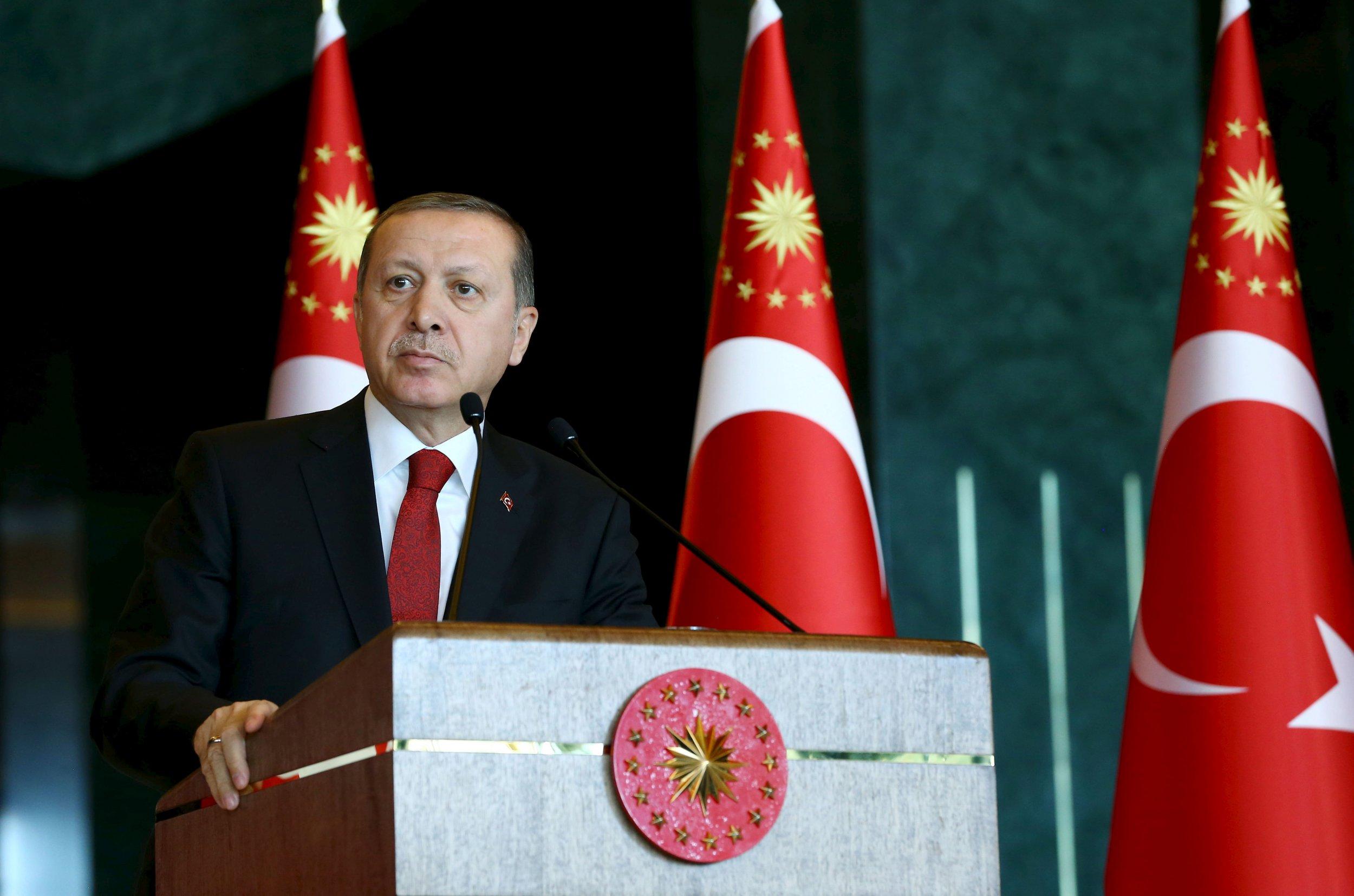 Erdogan addresses an audience in Ankara