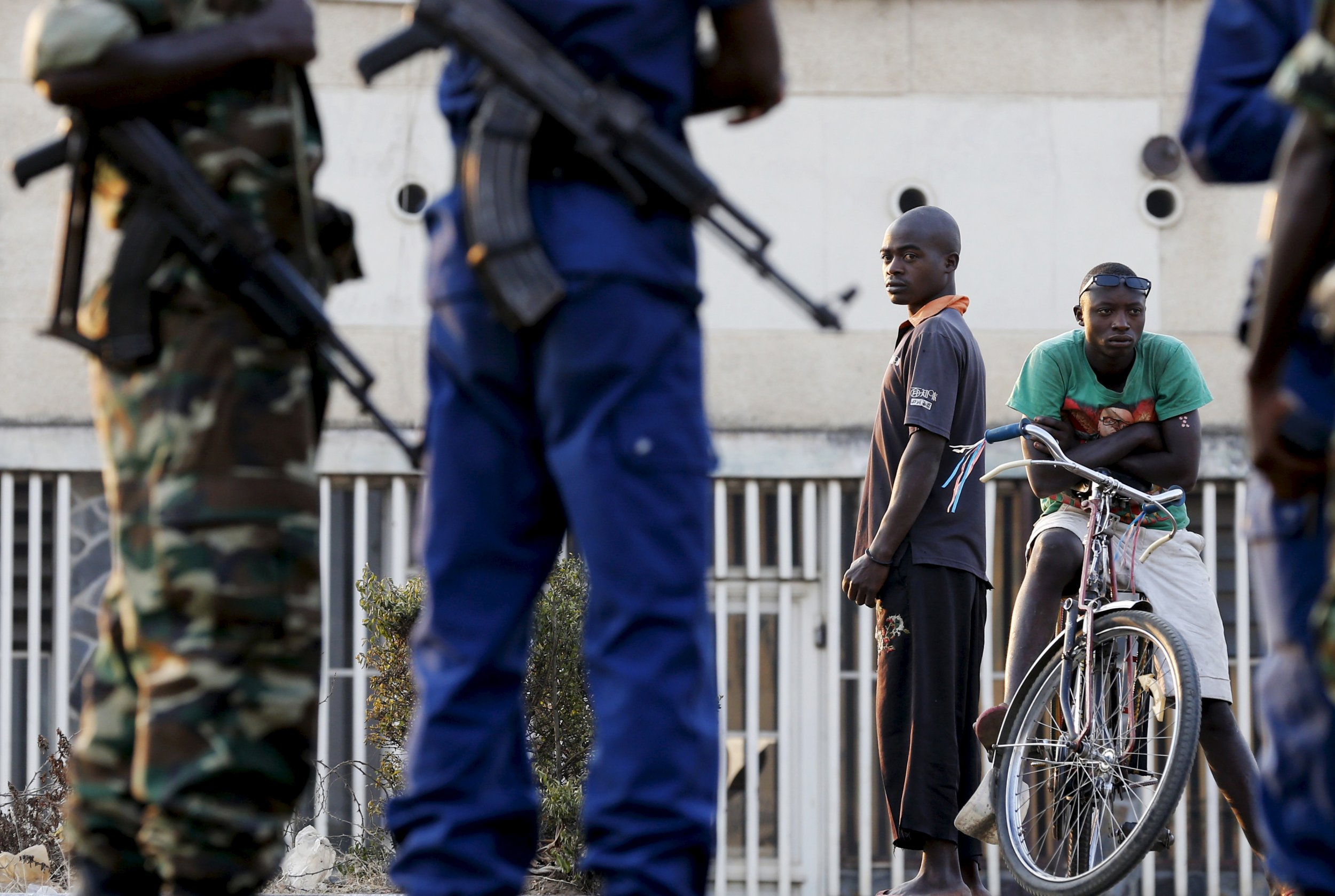 Burundian soldiers guard a voting station during the presidential elections in Bujumbura.