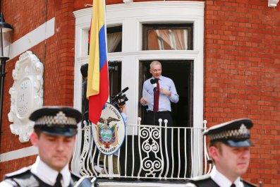 Julian Assange speaks from the balcony of the Ecuadorian embassy