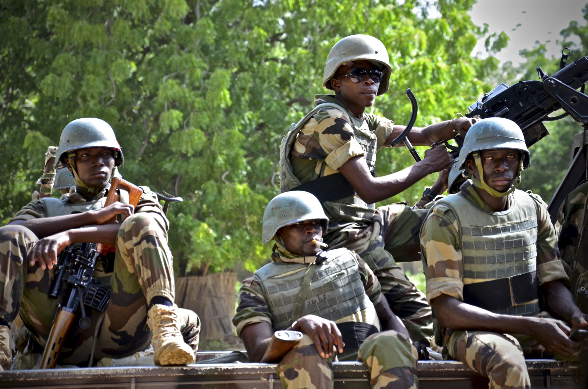Niger soldiers provide security at a Boko Haram summit in Diffa city, Niger.