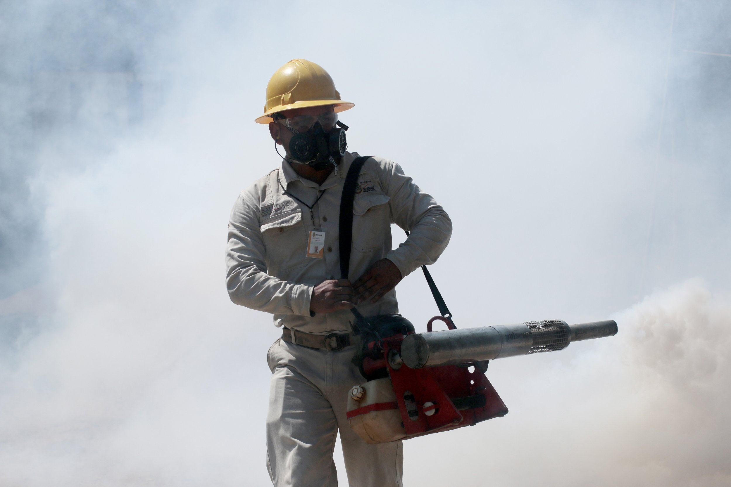 Fumigating to prevent the spread of the Zika virus in Mexico.