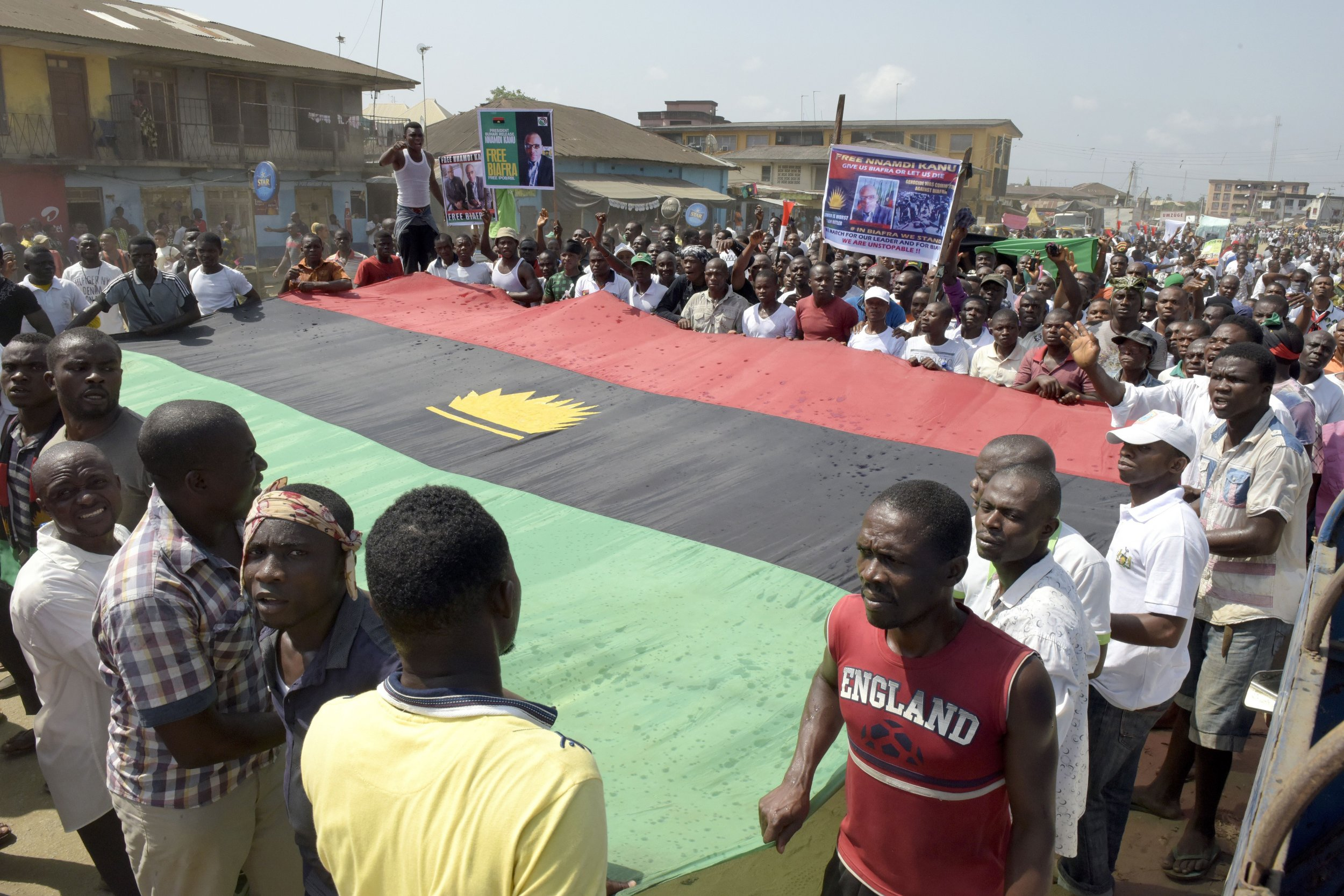 Biafra supporters calling for the release of Nnamdi Kanu march in Aba.