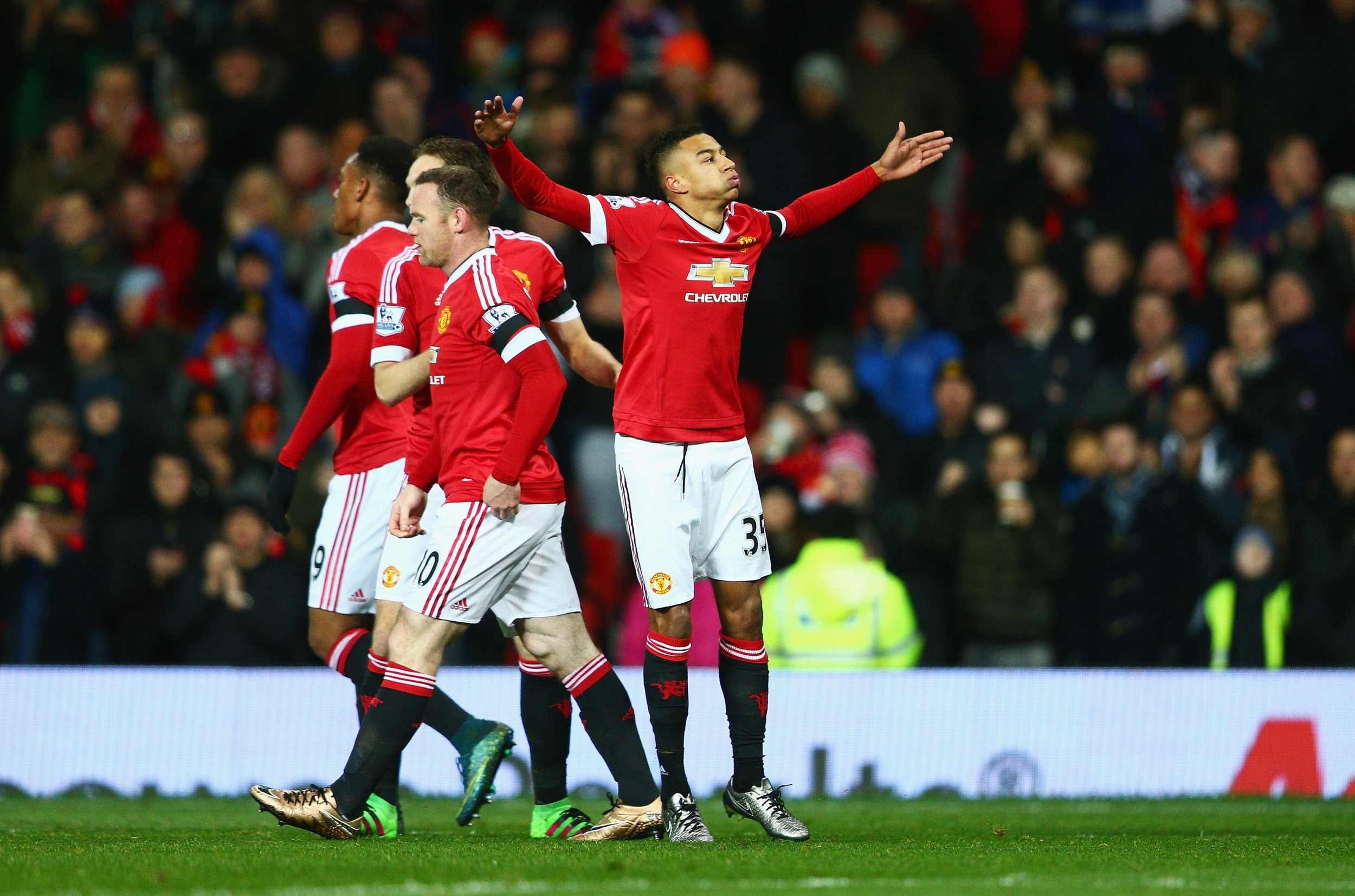Jesse Lingard after scoring at Old Trafford on Tuesday.