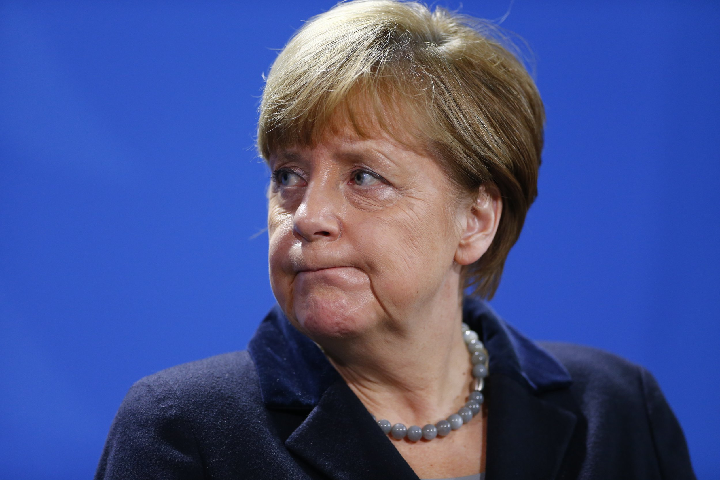Angela Merkel Looks Exasperated at a News Conference