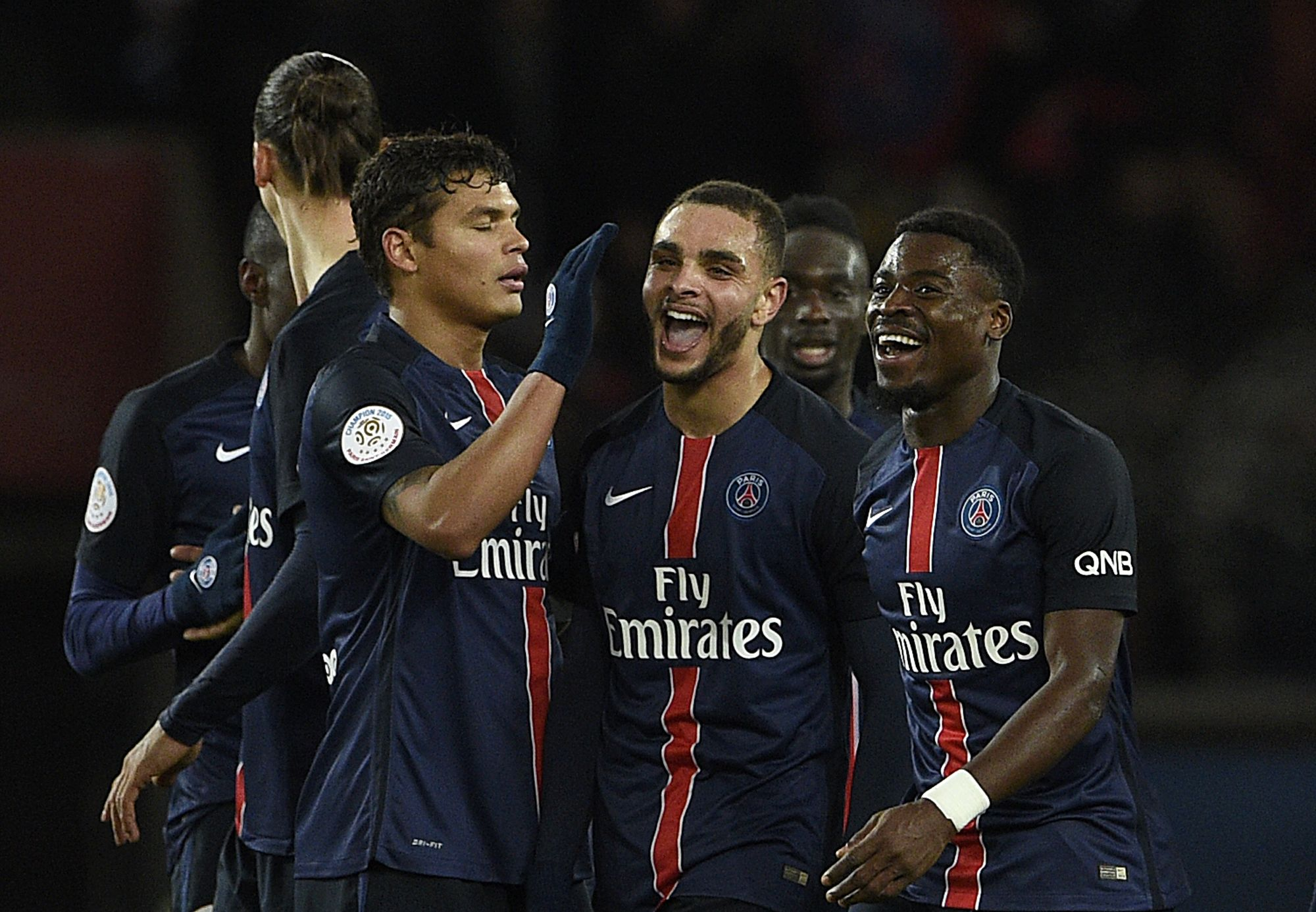 Paris Saint-Germain players at Parc des Princes stadium, February 3, 2016.
