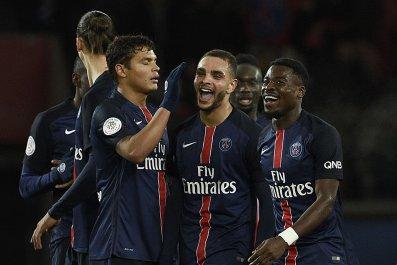 Paris Saint-Germain players at Parc des Princes stadium, February 3, 2016.