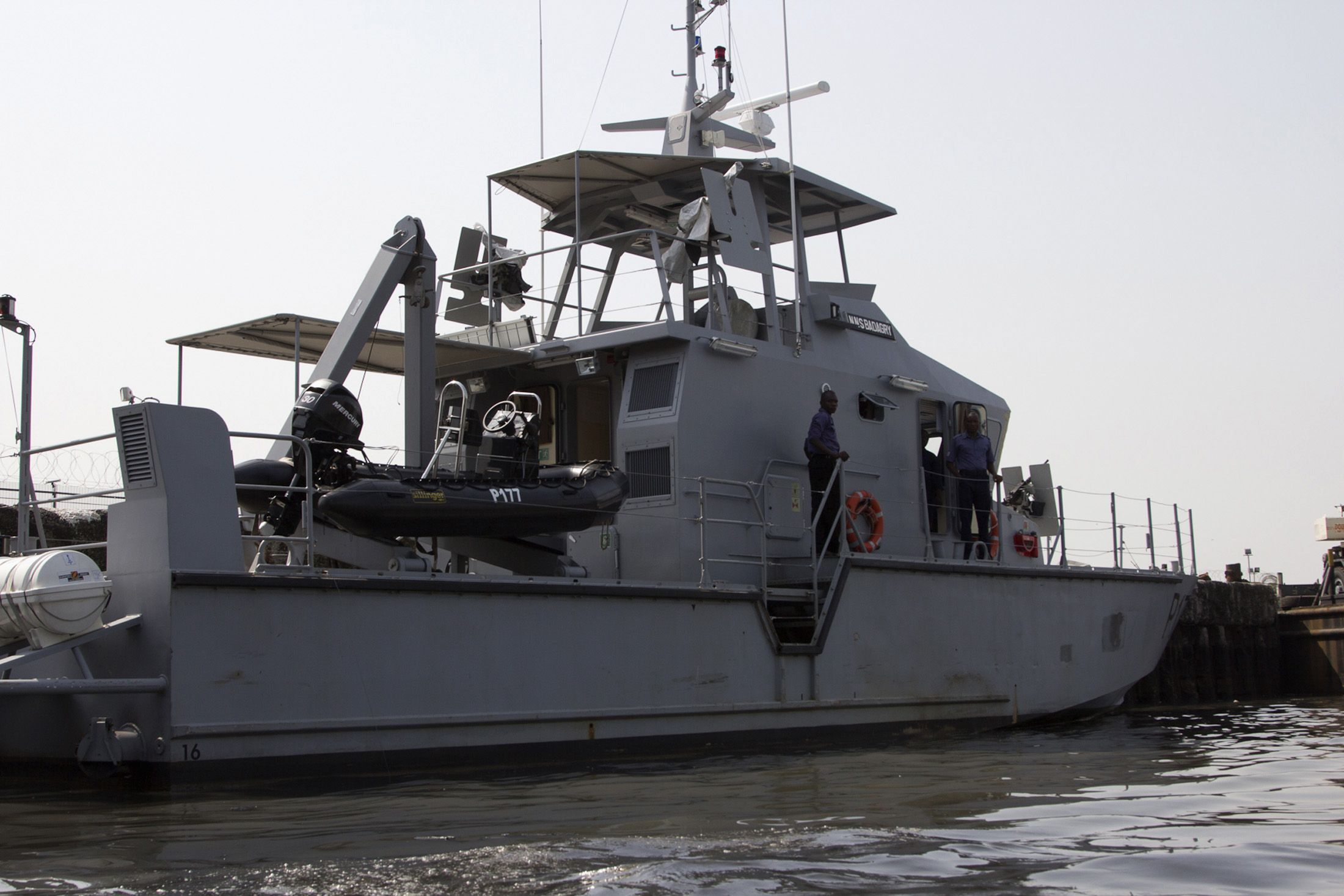A naval boat off the coast of Nigeria's Bayelsa state.