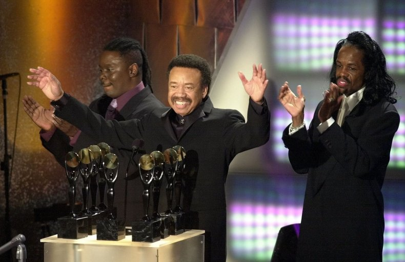 Maurice White of Earth Wind & Fire reacts as the band are inducted into the Rock and Roll Hall of Fame.