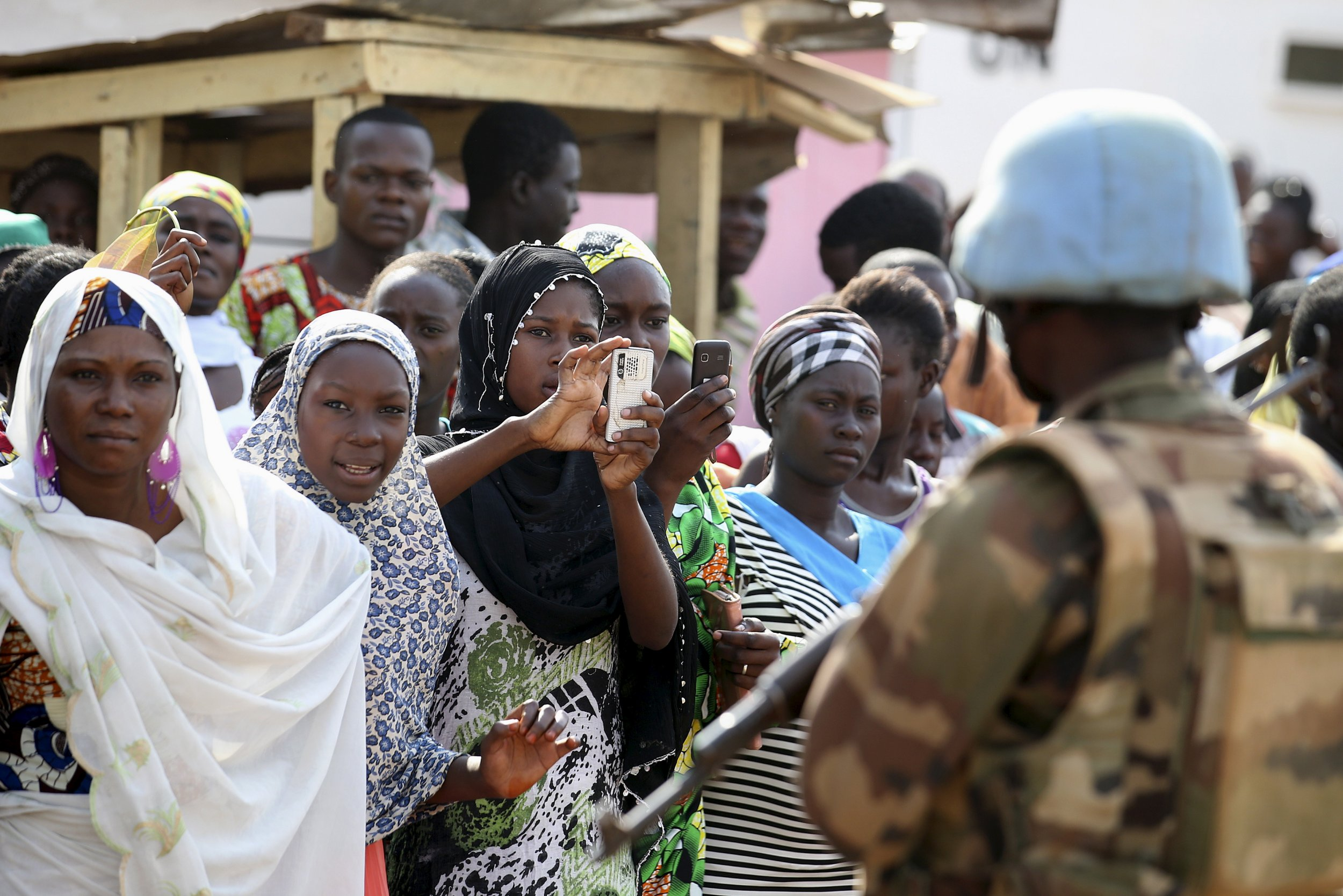 United Nations peacekeeper in Bangui, Central African Republic.