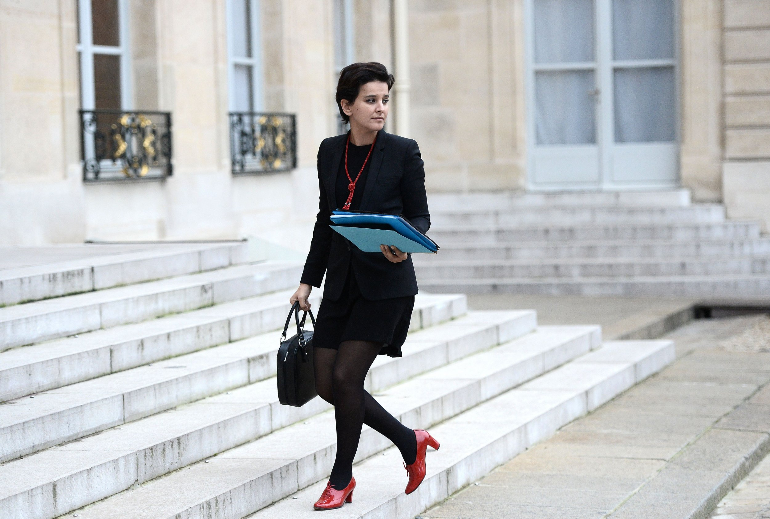Najat Vallaud-Belkacem, French education minister, arrives at the Elysee Presidential Palace.