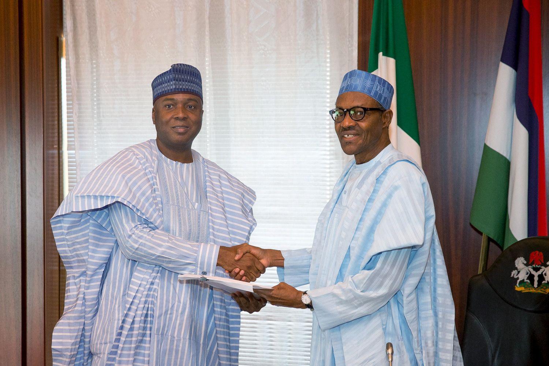 Bukola Saraki, president of the Nigerian Senate, with Nigerian President Muhammadu Buhari.