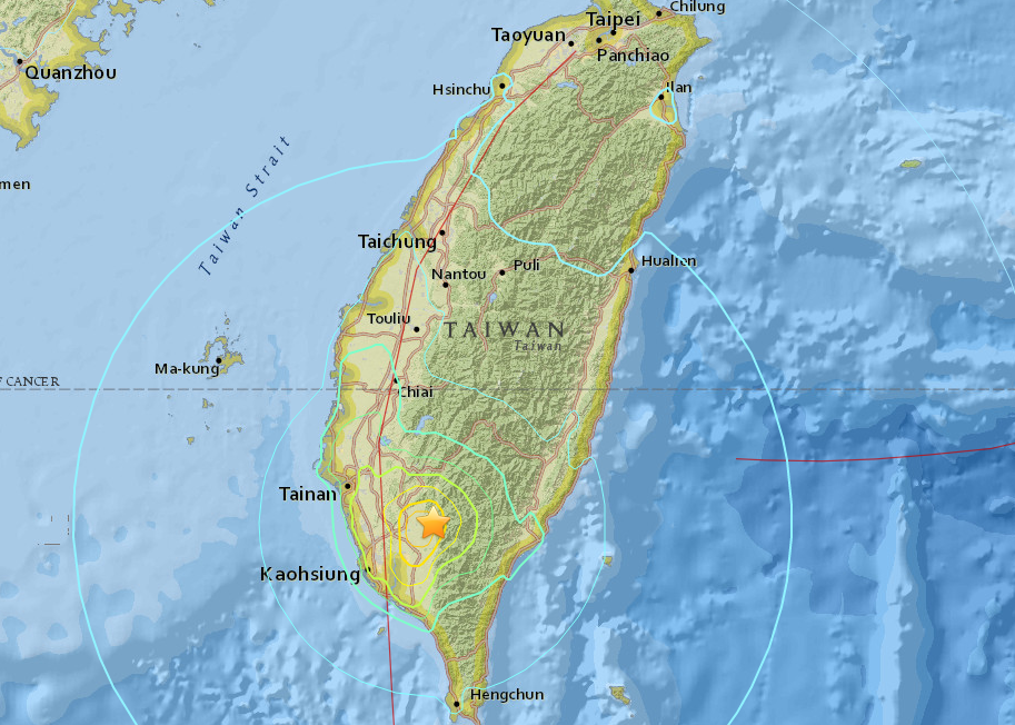 Magnitude 64 earthquake rattles taiwan map gumiabroncs Choice Image