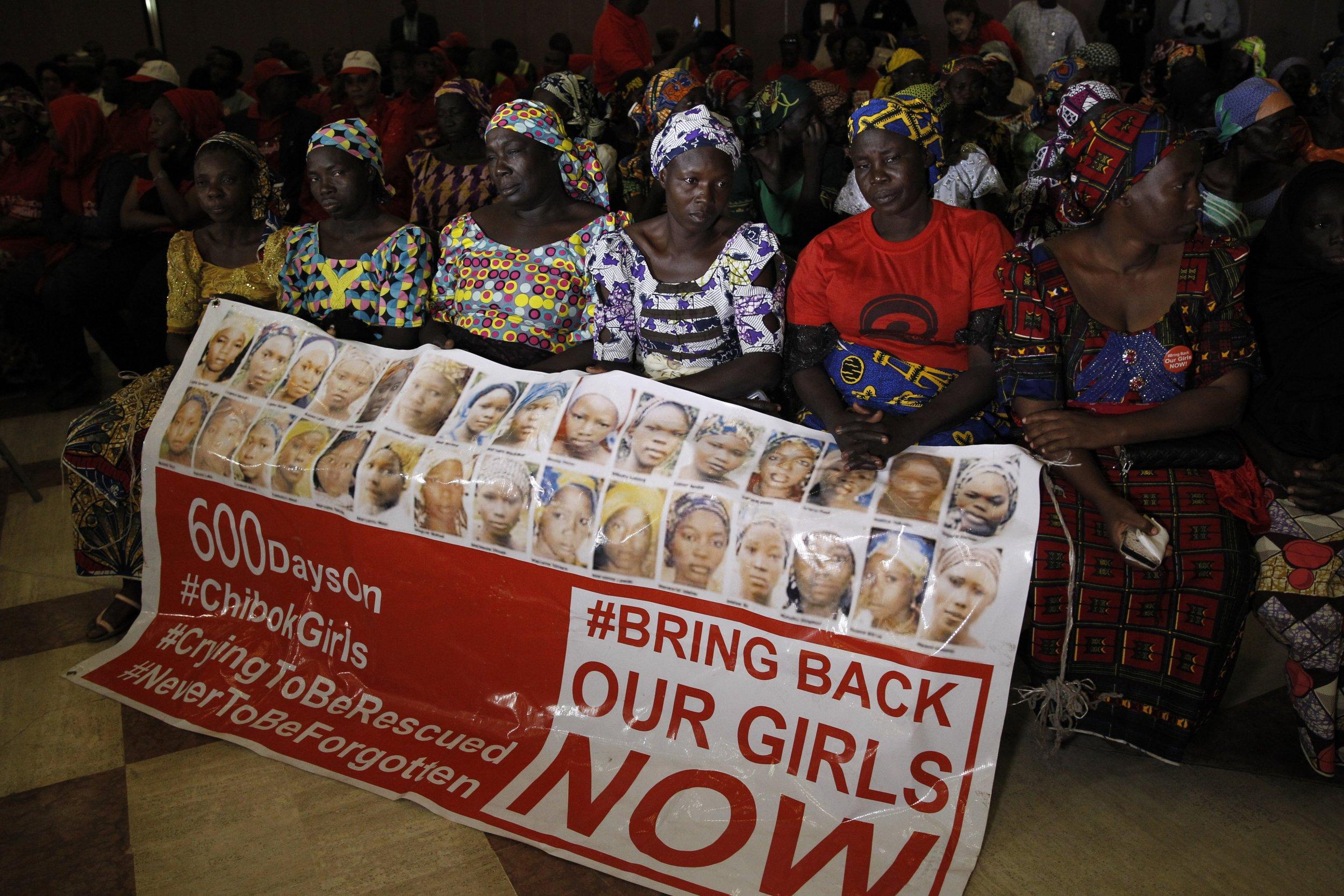 Chibok girls' parents during meeting with Buhari.