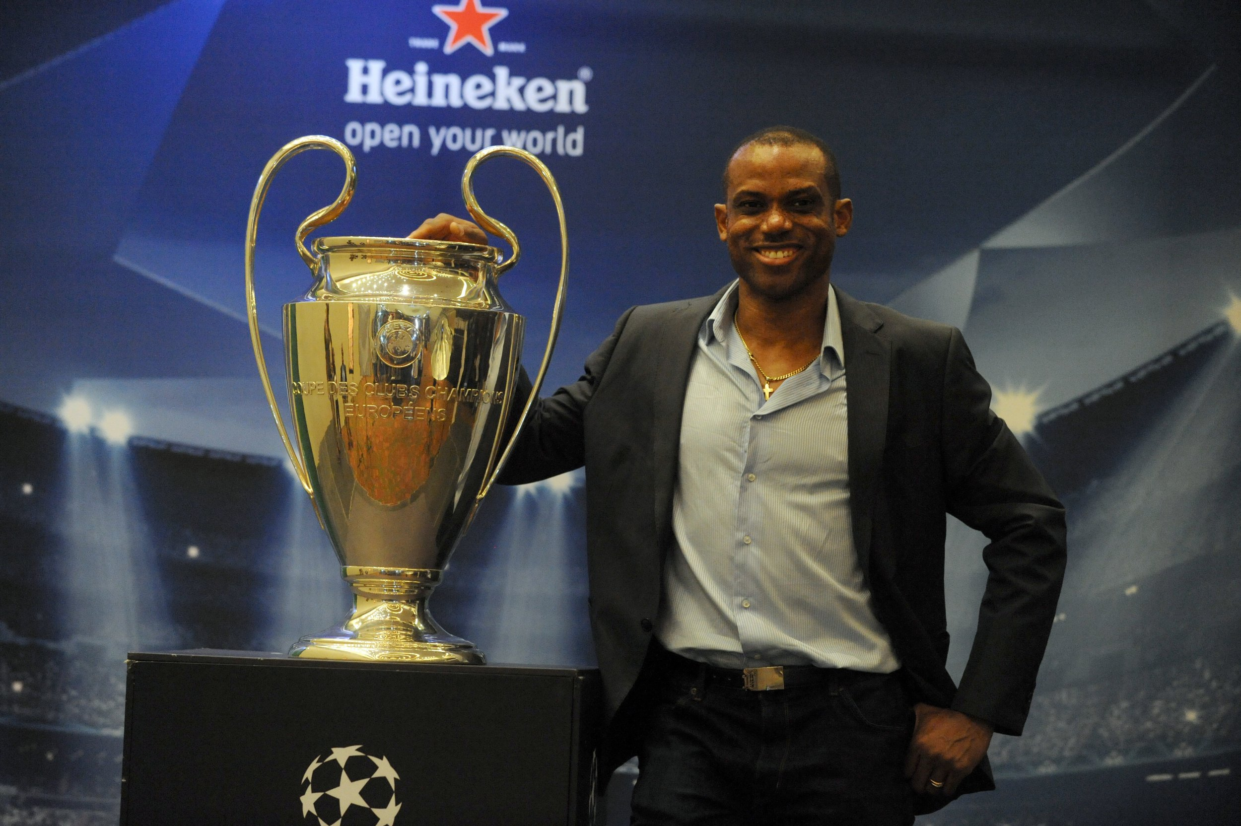 Nigeria's Sunday Oliseh with the Champions League trophy.