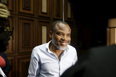 Nnamdi Kanu, a pro-Biafran activist, is standing trial for treason on Tuesday.